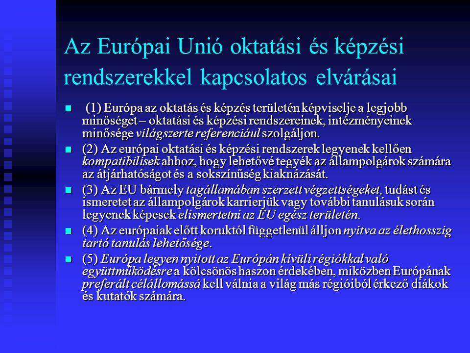 Az Európai Unió oktatási és képzési rendszerekkel kapcsolatos elvárásai (1) Európa az oktatás és képzés területén képviselje a legjobb minőséget – okt