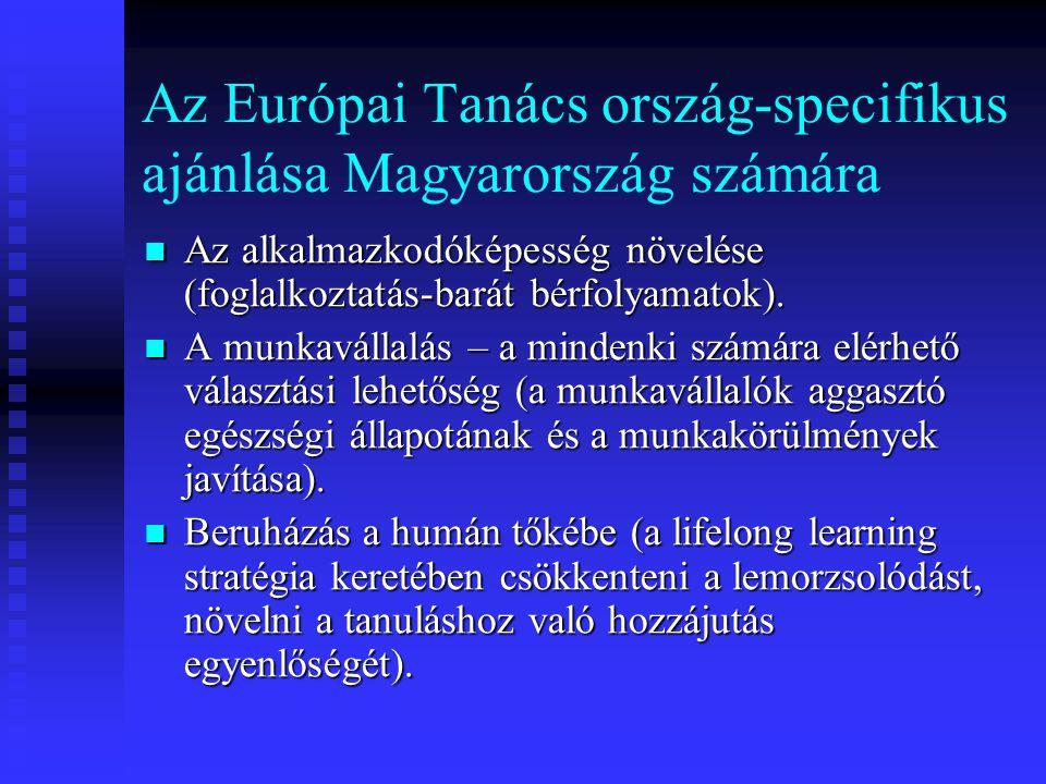 Az Európai Tanács ország-specifikus ajánlása Magyarország számára Az alkalmazkodóképesség növelése (foglalkoztatás-barát bérfolyamatok). Az alkalmazko