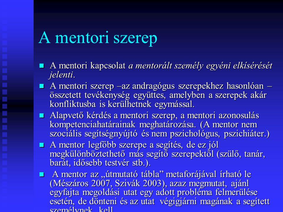 A mentori szerep A mentori kapcsolat a mentorált személy egyéni elkísérését jelenti. A mentori kapcsolat a mentorált személy egyéni elkísérését jelent
