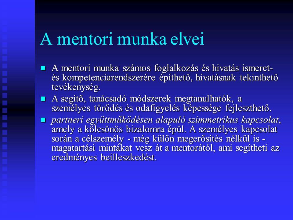A mentori munka elvei A mentori munka számos foglalkozás és hivatás ismeret- és kompetenciarendszerére építhető, hivatásnak tekinthető tevékenység. A