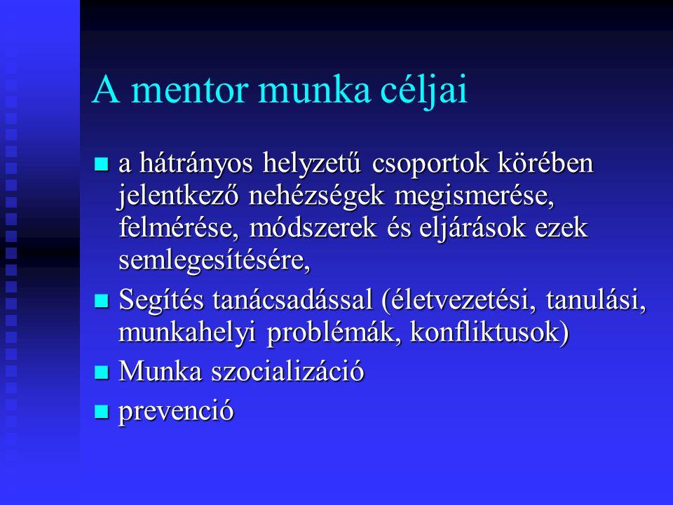 A mentor munka céljai a hátrányos helyzetű csoportok körében jelentkező nehézségek megismerése, felmérése, módszerek és eljárások ezek semlegesítésére