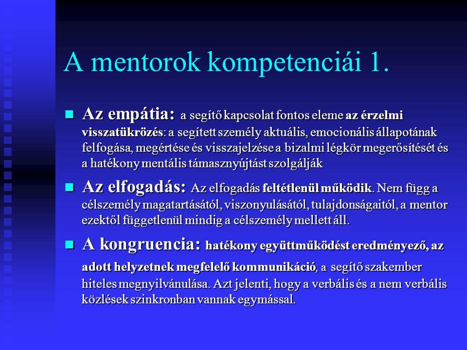 A mentorok kompetenciái 1. Az empátia: a segítő kapcsolat fontos eleme az érzelmi visszatükrözés: a segített személy aktuális, emocionális állapotának