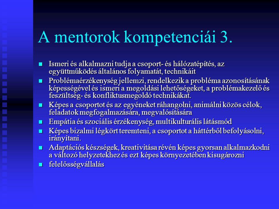A mentorok kompetenciái 3. Ismeri és alkalmazni tudja a csoport- és hálózatépítés, az együttműködés általános folyamatát, technikáit Ismeri és alkalma