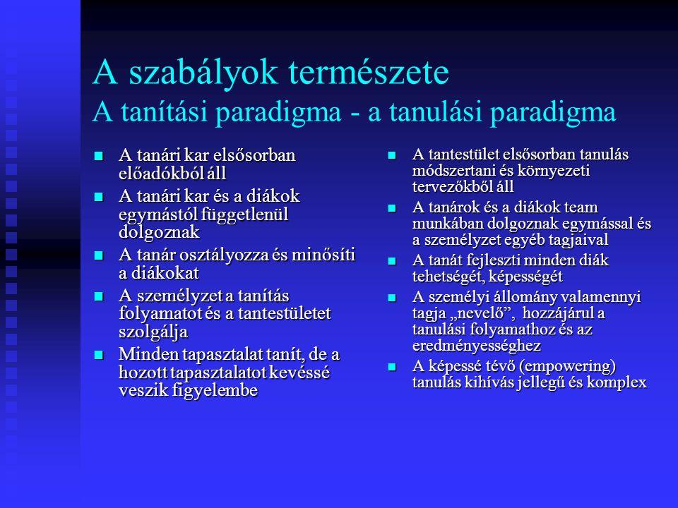 A szabályok természete A tanítási paradigma - a tanulási paradigma A tanári kar elsősorban előadókból áll A tanári kar elsősorban előadókból áll A tan