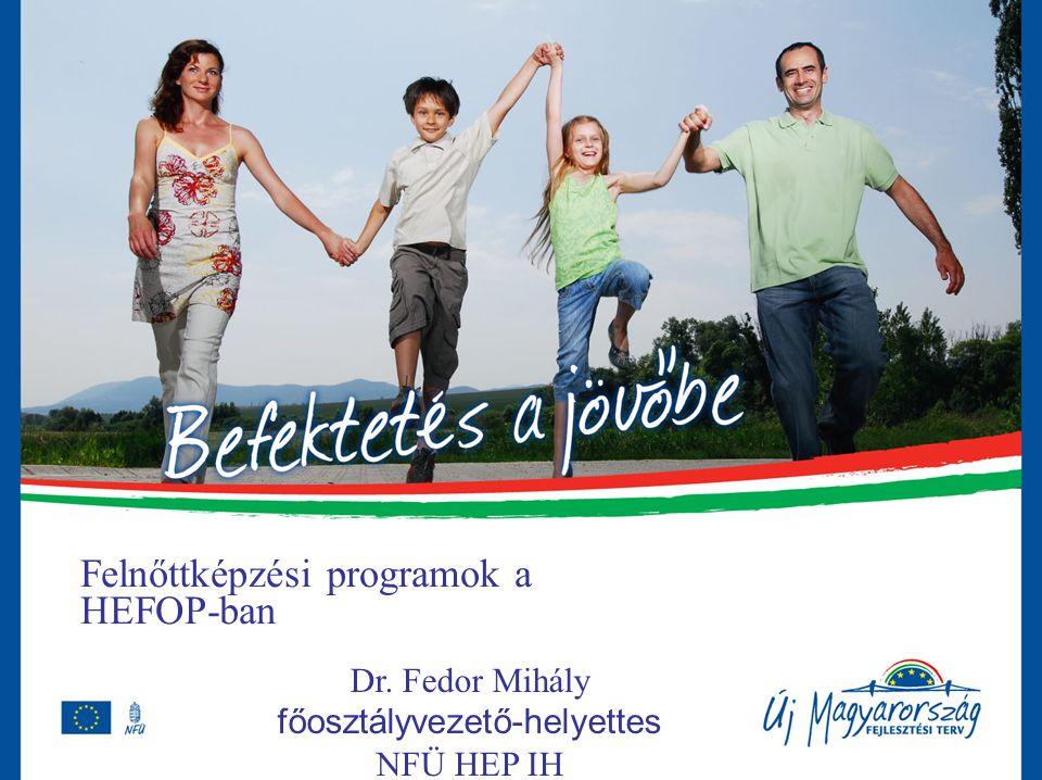 Felnőttképzési programok a HEFOP-ban Dr. Fedor Mihály főosztályvezető-helyettes NFÜ HEP IH