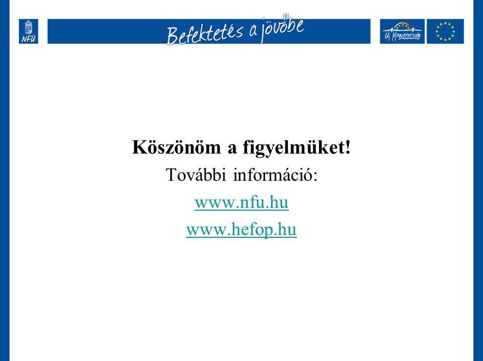 Köszönöm a figyelmüket! További információ: www.nfu.hu www.hefop.hu