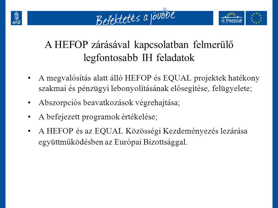 A megvalósítás alatt álló HEFOP és EQUAL projektek hatékony szakmai és pénzügyi lebonyolításának elősegítése, felügyelete; Abszorpciós beavatkozások v