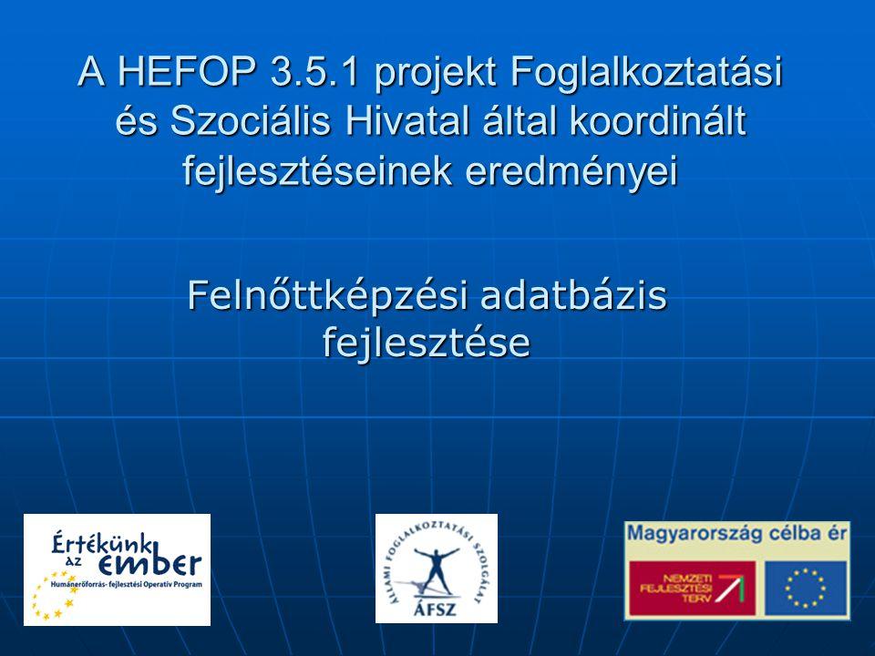 A HEFOP 3.5.1 projekt Foglalkoztatási és Szociális Hivatal által koordinált fejlesztéseinek eredményei Felnőttképzési adatbázis fejlesztése