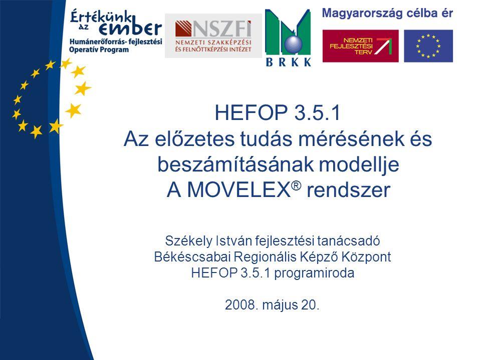 HEFOP 3.5.1 Az előzetes tudás mérésének és beszámításának modellje A MOVELEX ® rendszer Székely István fejlesztési tanácsadó Békéscsabai Regionális Ké