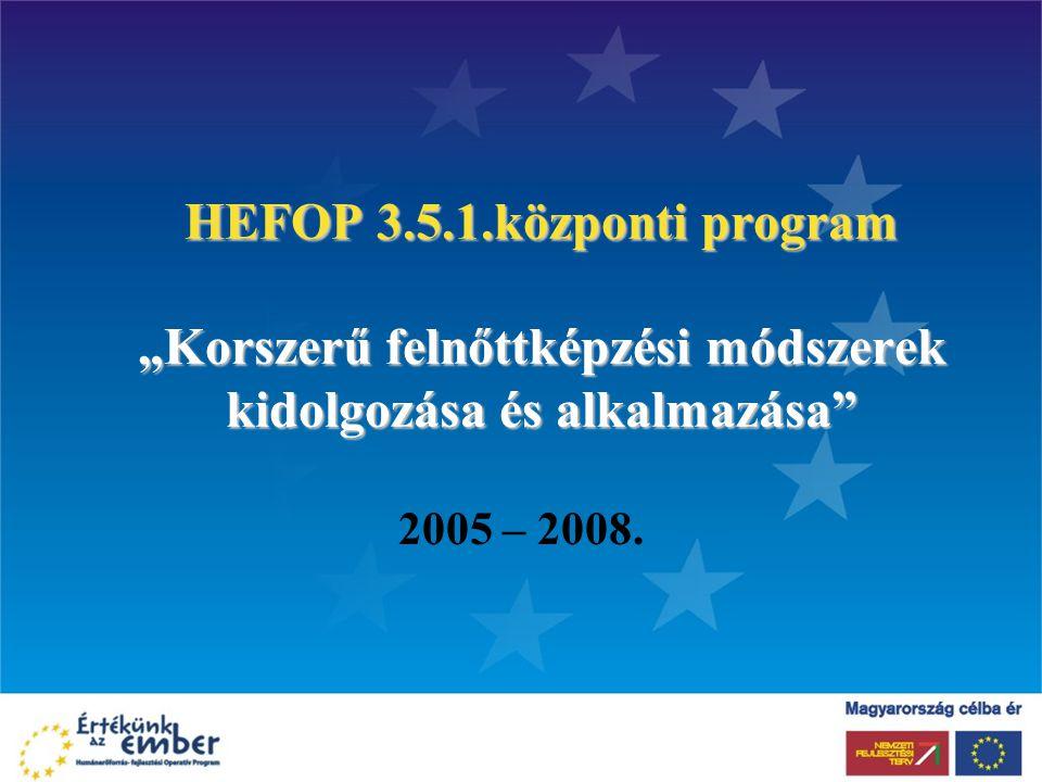 """HEFOP 3.5.1.központi program """"Korszerű felnőttképzési módszerek kidolgozása és alkalmazása"""" 2005 – 2008."""