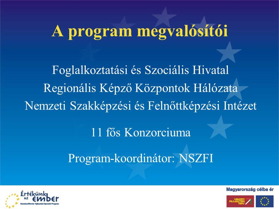 A program megvalósítói Foglalkoztatási és Szociális Hivatal Regionális Képző Központok Hálózata Nemzeti Szakképzési és Felnőttképzési Intézet 11 fős Konzorciuma Program-koordinátor: NSZFI