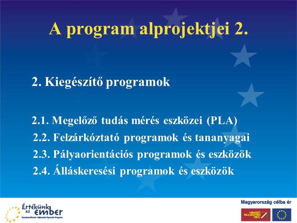 A program alprojektjei 2. 2. Kiegészítő programok 2.1. Megelőző tudás mérés eszközei (PLA) 2.2. Felzárkóztató programok és tananyagai 2.3. Pályaorient