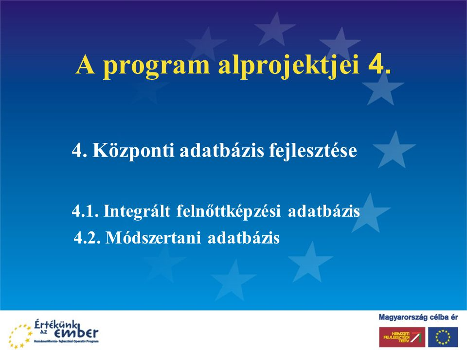 A program alprojektjei 4. 4. Központi adatbázis fejlesztése 4.1. Integrált felnőttképzési adatbázis 4.2. Módszertani adatbázis