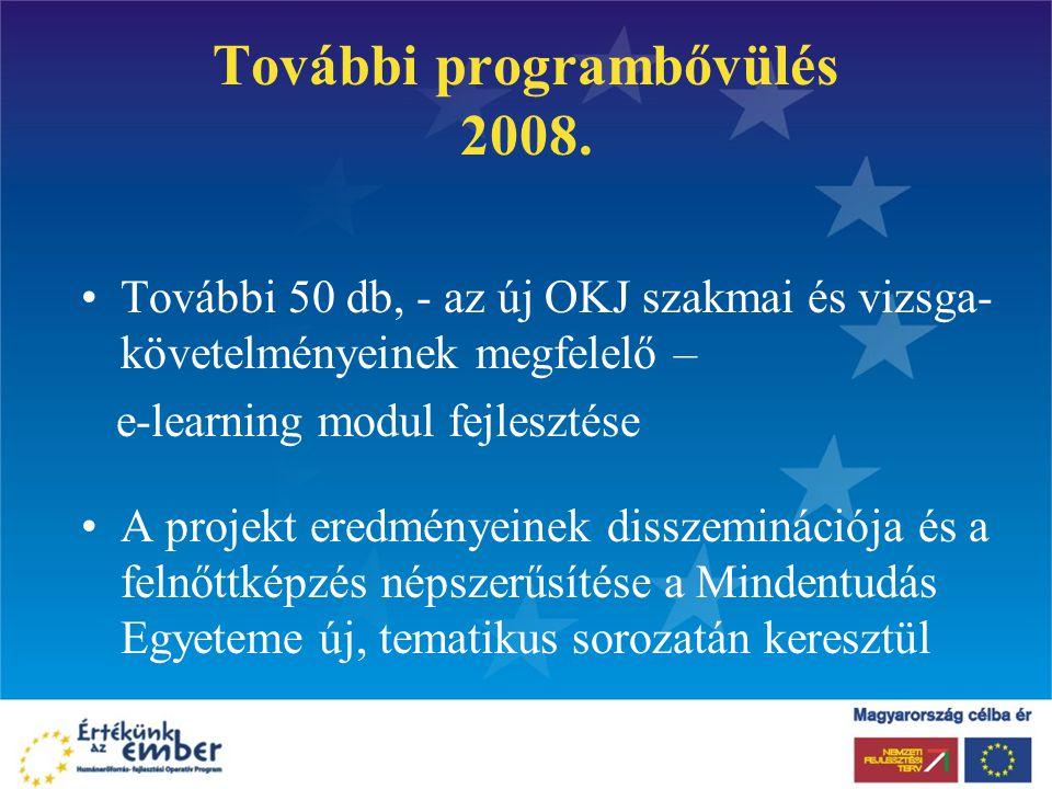 További programbővülés 2008. További 50 db, - az új OKJ szakmai és vizsga- követelményeinek megfelelő – e-learning modul fejlesztése A projekt eredmén
