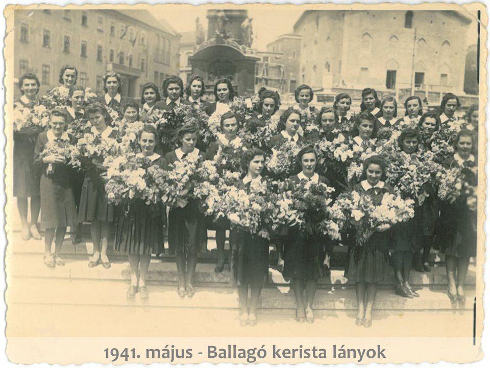 1941. Óraközi szünetben a IV. osztály a Mária utcai iskola udvarán