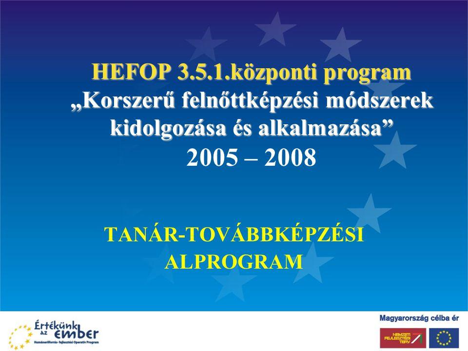 """HEFOP 3.5.1.központi program """"Korszerű felnőttképzési módszerek kidolgozása és alkalmazása"""" HEFOP 3.5.1.központi program """"Korszerű felnőttképzési móds"""