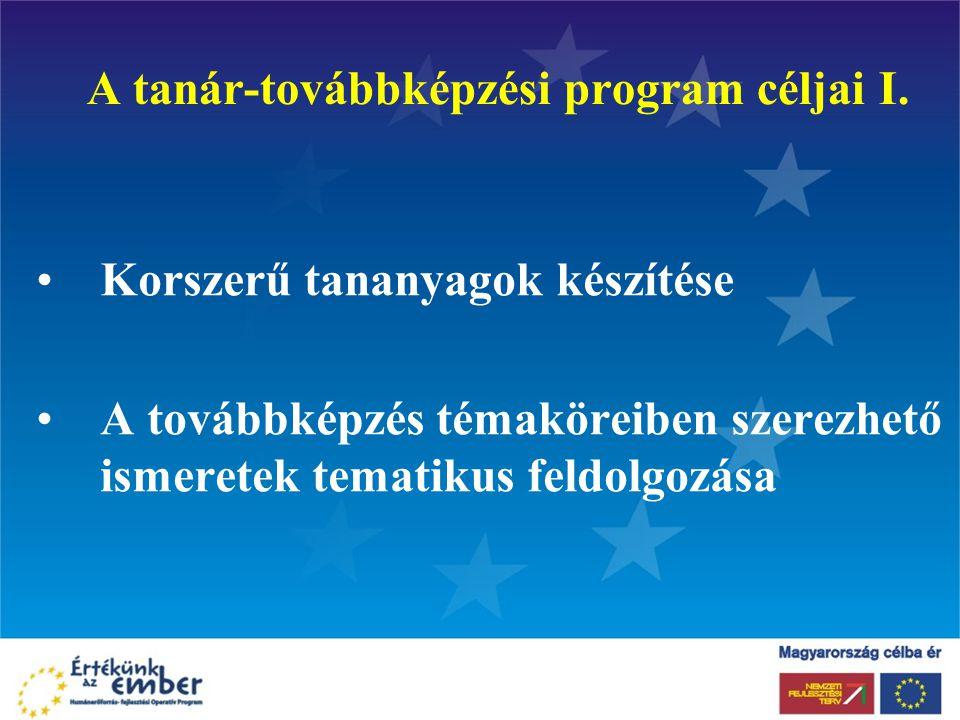 A tanár-továbbképzési program céljai I. Korszerű tananyagok készítése A továbbképzés témaköreiben szerezhető ismeretek tematikus feldolgozása