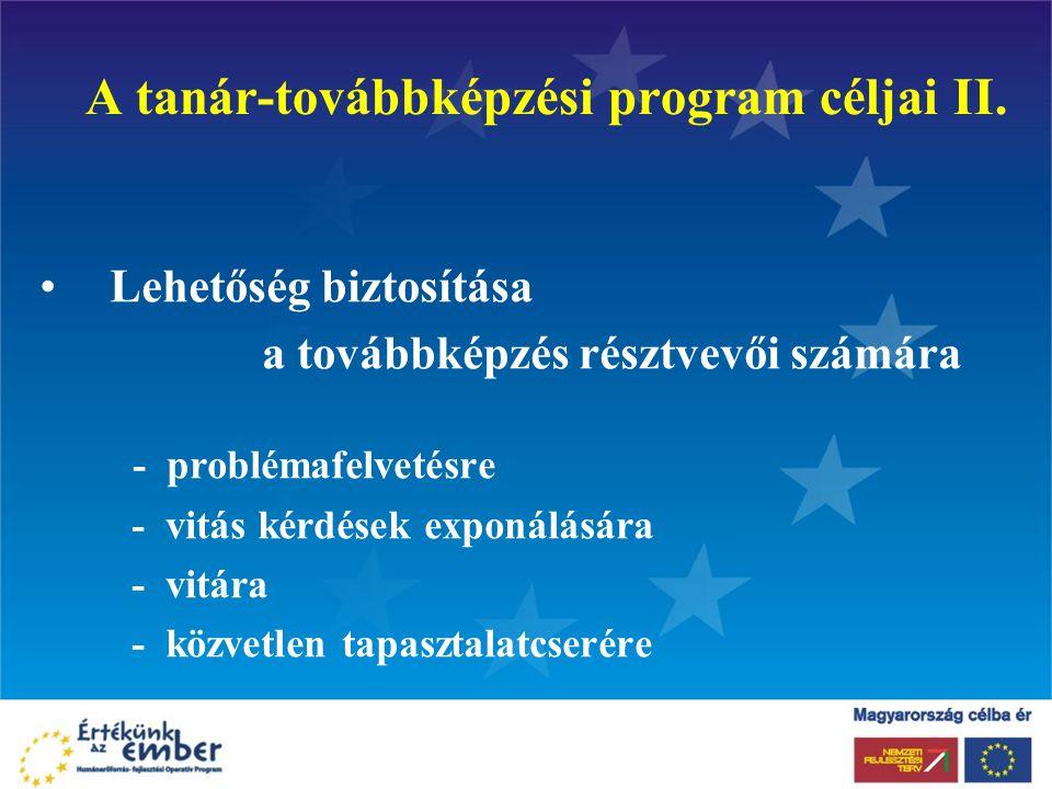 A tanár-továbbképzési program céljai II. Lehetőség biztosítása a továbbképzés résztvevői számára - problémafelvetésre - vitás kérdések exponálására -