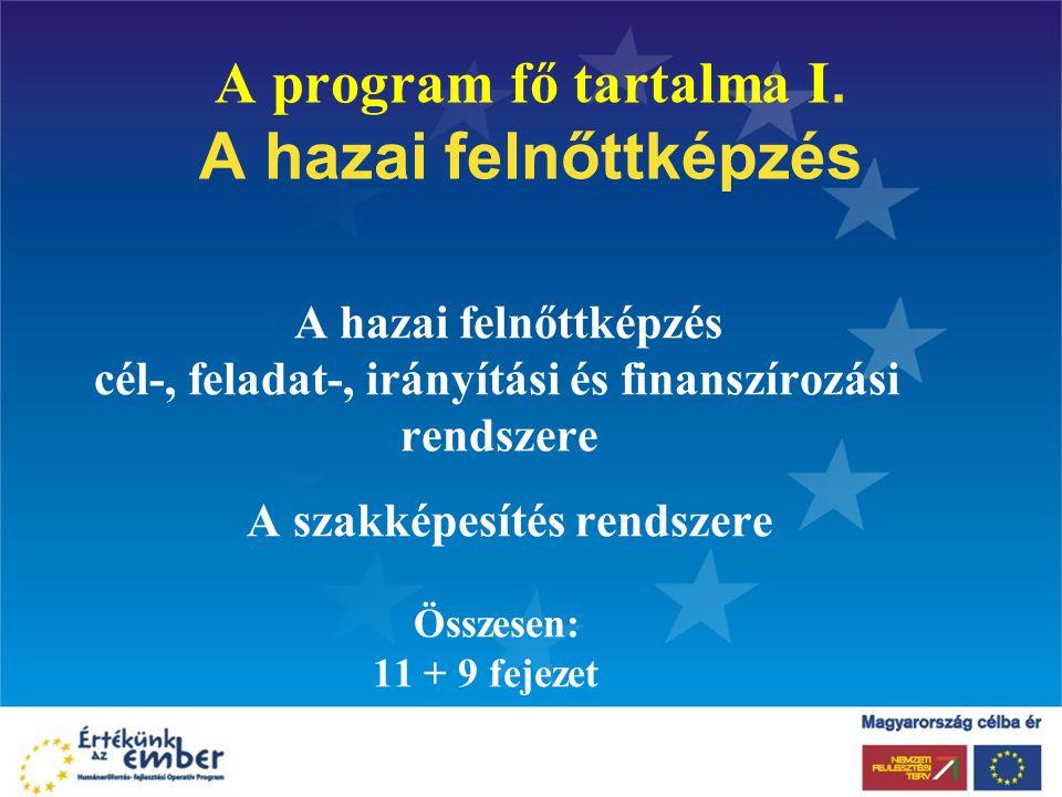 A program fő tartalma I. A hazai felnőttképzés A hazai felnőttképzés cél-, feladat-, irányítási és finanszírozási rendszere A szakképesítés rendszere