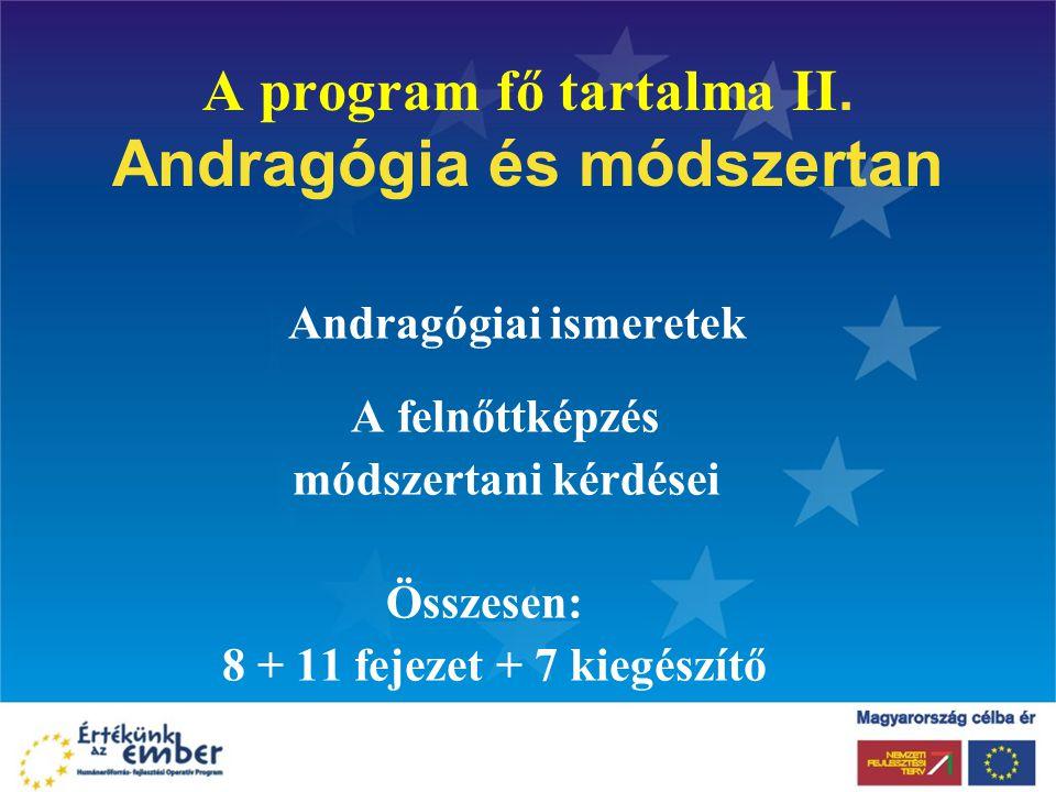 A program fő tartalma II. Andragógia és módszertan Andragógiai ismeretek A felnőttképzés módszertani kérdései Összesen: 8 + 11 fejezet + 7 kiegészítő