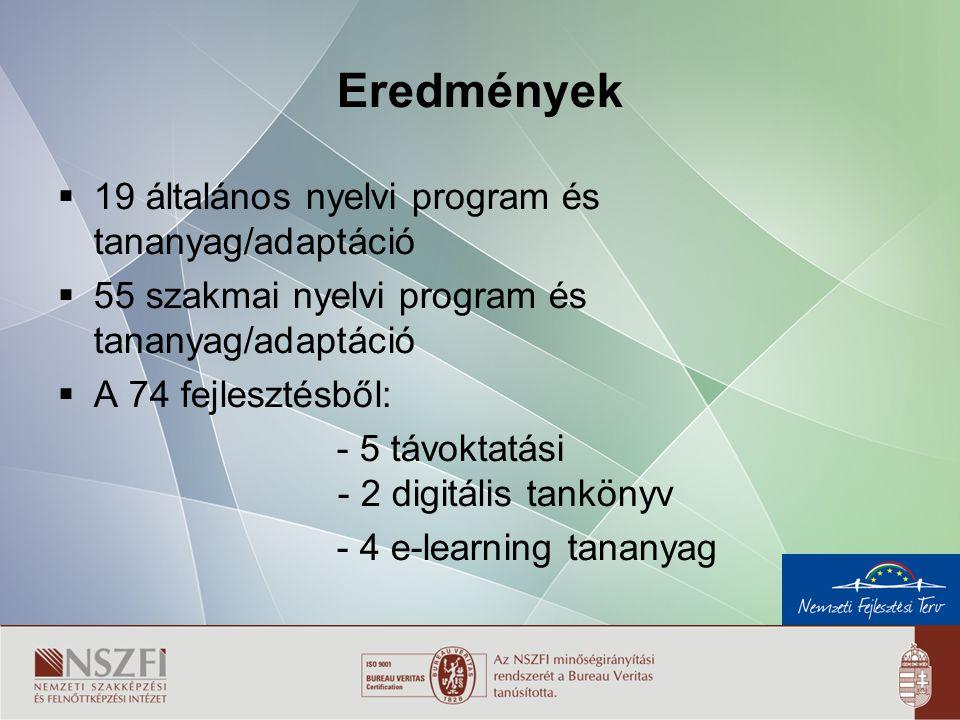 7 Eredmények  19 általános nyelvi program és tananyag/adaptáció  55 szakmai nyelvi program és tananyag/adaptáció  A 74 fejlesztésből: - 5 távoktatási - 2 digitális tankönyv - 4 e-learning tananyag