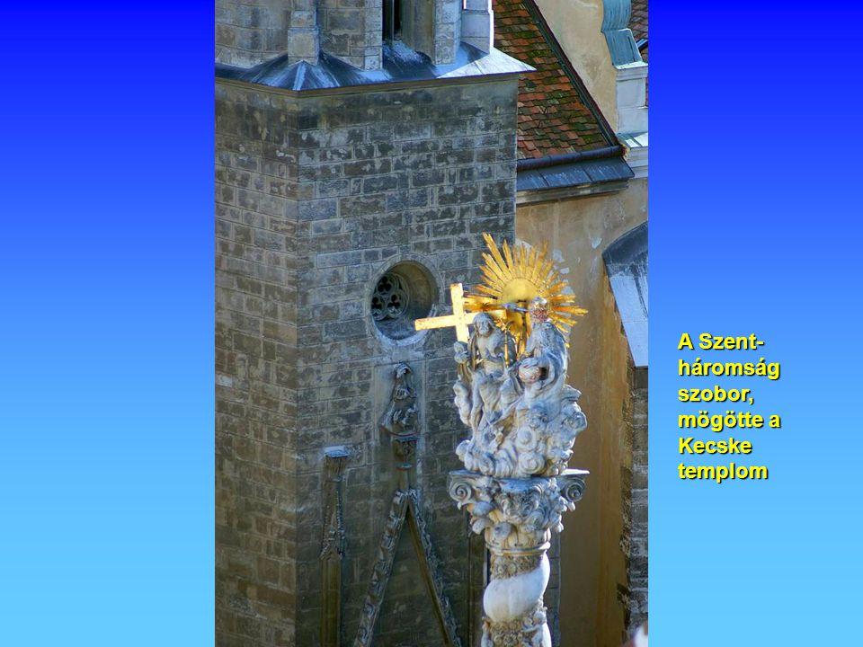 A Szent- háromság szobor, mögötte a Kecske templom