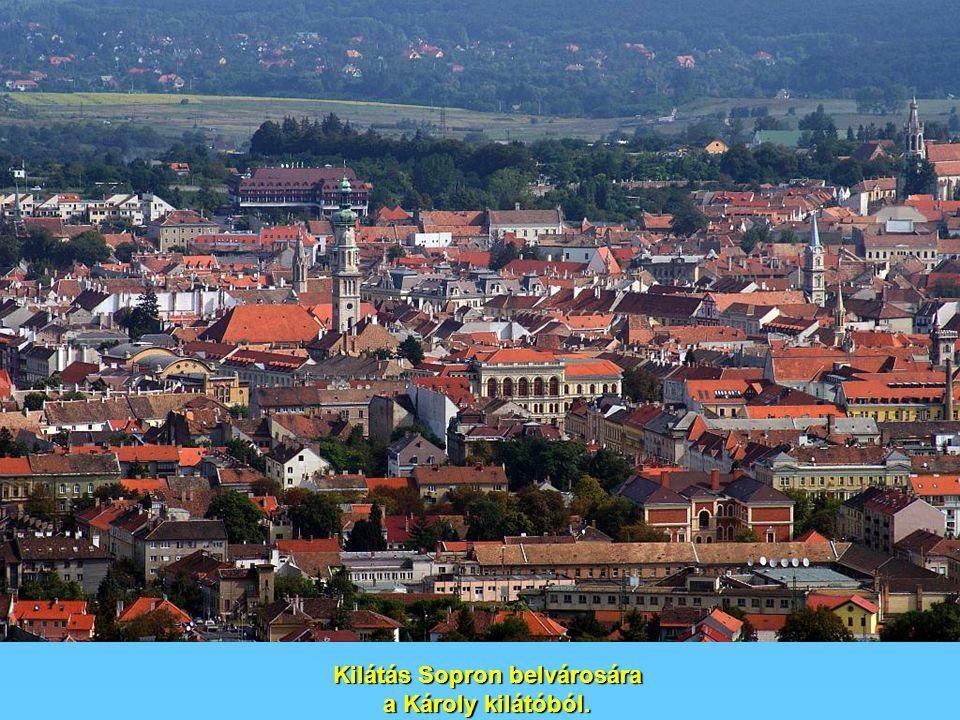 Kilátás Sopron belvárosára a Károly kilátóból.