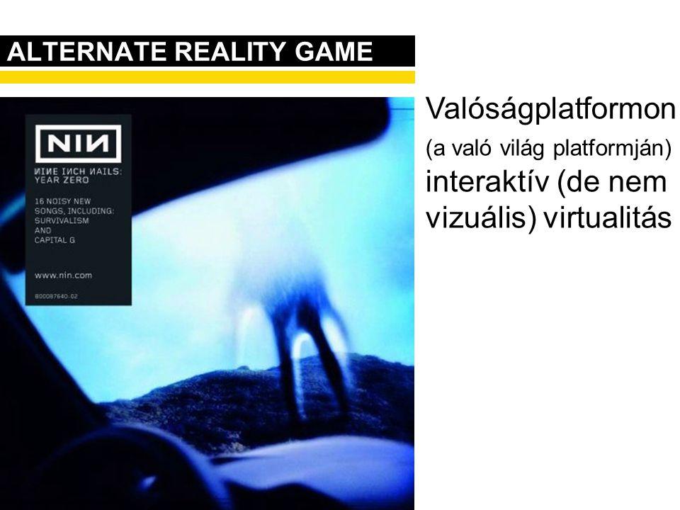 ALTERNATE REALITY GAME Valóságplatformon (a való világ platformján) interaktív (de nem vizuális) virtualitás