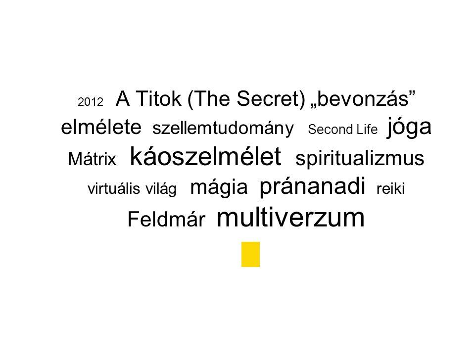 """2012 A Titok (The Secret) """"bevonzás elmélete szellemtudomány Second Life jóga Mátrix káoszelmélet spiritualizmus virtuális világ mágia pránanadi reiki Feldmár multiverzum"""