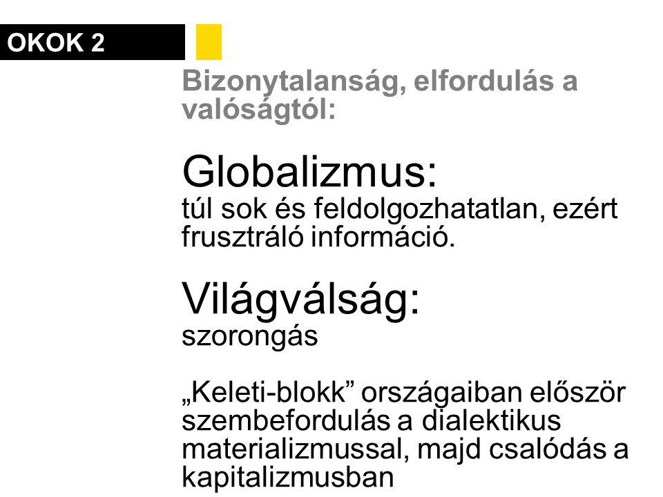 """OKOK 2 Bizonytalanság, elfordulás a valóságtól: Globalizmus: túl sok és feldolgozhatatlan, ezért frusztráló információ. Világválság: szorongás """"Keleti"""