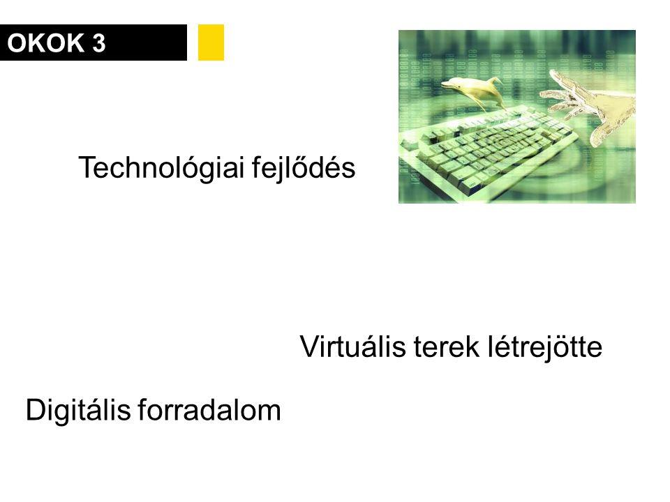 OKOK 3 Technológiai fejlődés Digitális forradalom Virtuális terek létrejötte