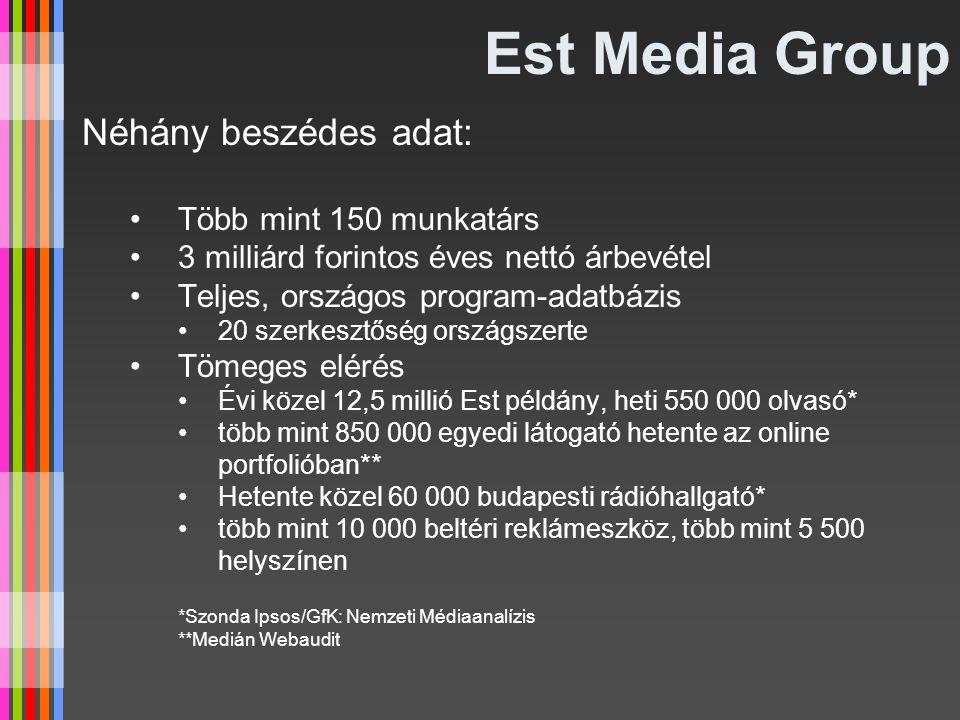 Est Media Group Néhány beszédes adat: Több mint 150 munkatárs 3 milliárd forintos éves nettó árbevétel Teljes, országos program-adatbázis 20 szerkeszt