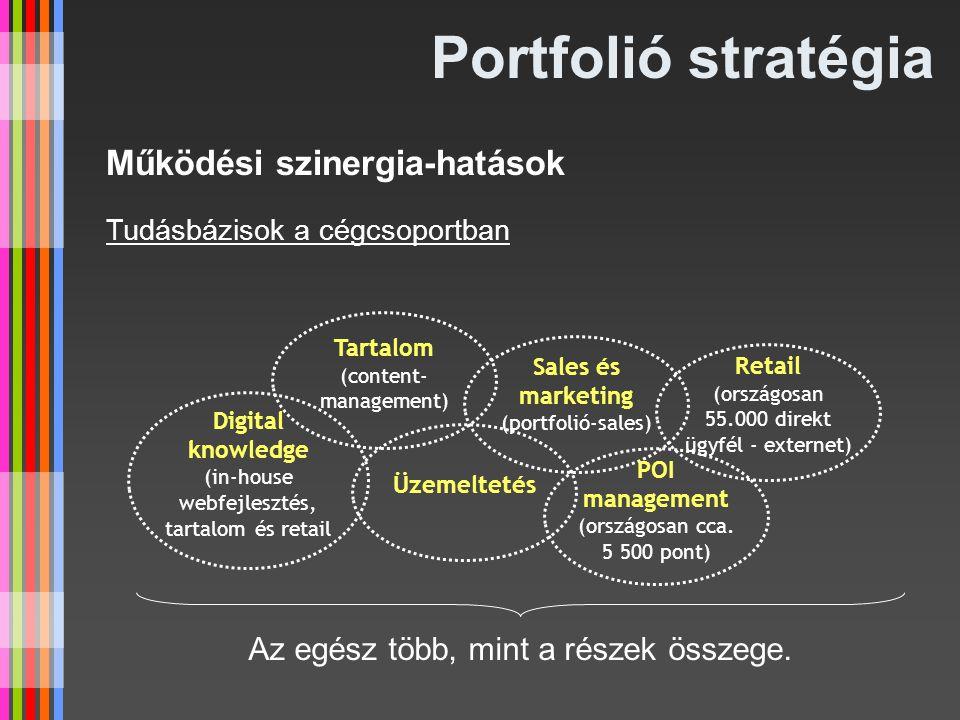 Portfolió stratégia Tartalom (content- management) Működési szinergia-hatások Tudásbázisok a cégcsoportban Sales és marketing (portfolió-sales) Üzemel