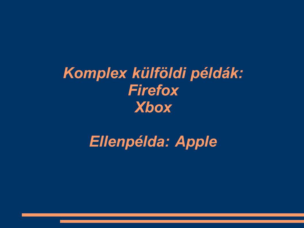 Komplex külföldi példák: Firefox Xbox Ellenpélda: Apple