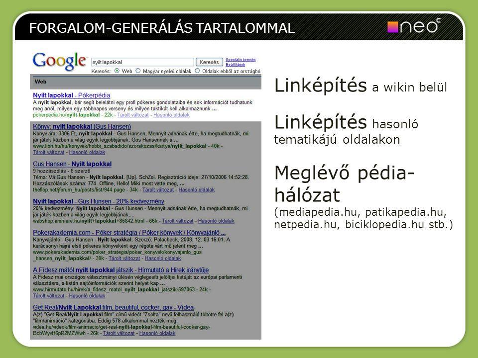 FORGALOM-GENERÁLÁS TARTALOMMAL Linképítés a wikin belül Linképítés hasonló tematikájú oldalakon Meglévő pédia- hálózat (mediapedia.hu, patikapedia.hu,