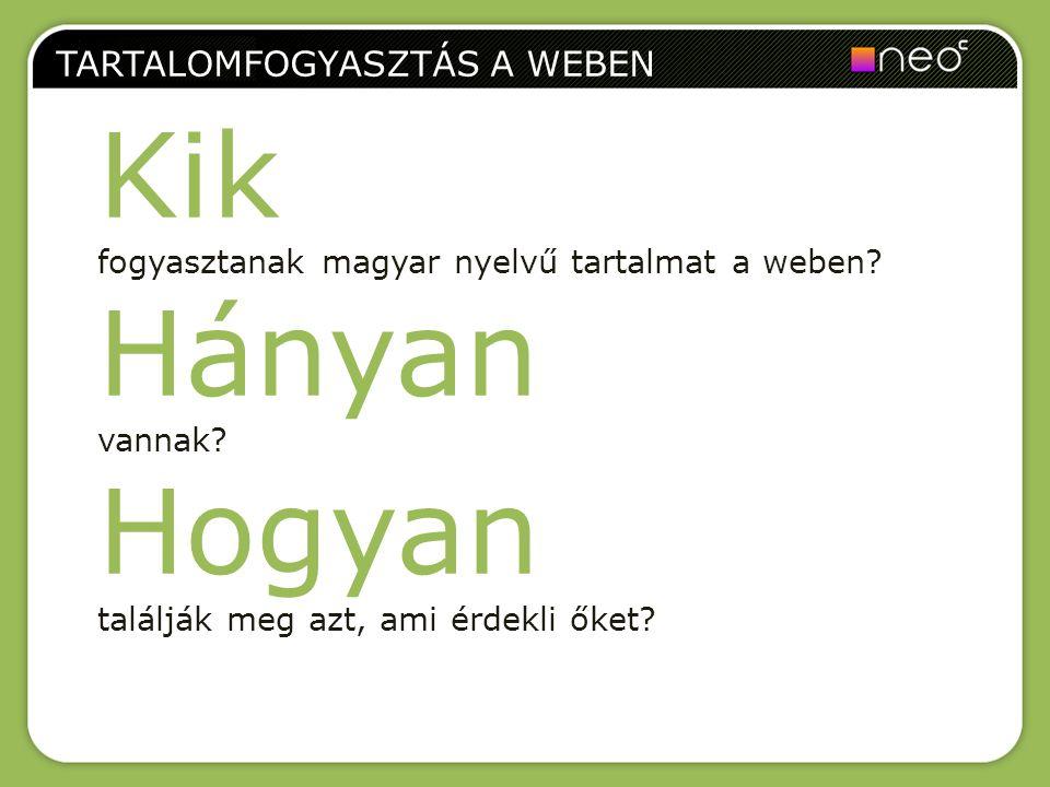 TARTALOMFOGYASZTÁS A WEBEN Kik fogyasztanak magyar nyelvű tartalmat a weben? Hányan vannak? Hogyan találják meg azt, ami érdekli őket?