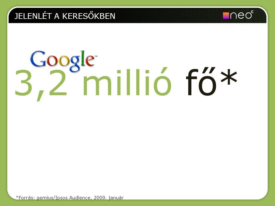 JELENLÉT A KERESŐKBEN 3,2 millió fő* *Forrás: gemius/Ipsos Audience, 2009. január