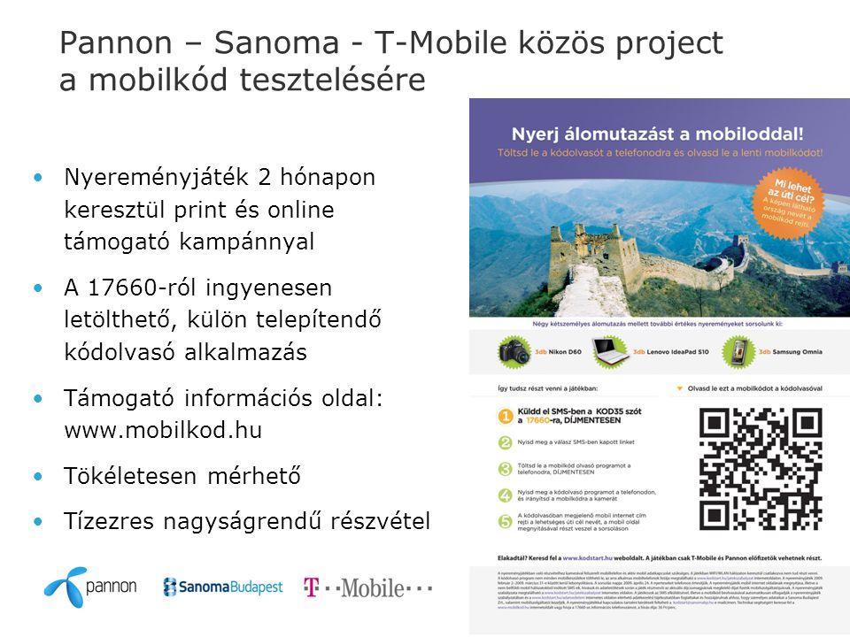 Pannon – Sanoma - T-Mobile közös project a mobilkód tesztelésére Nyereményjáték 2 hónapon keresztül print és online támogató kampánnyal A 17660-ról ingyenesen letölthető, külön telepítendő kódolvasó alkalmazás Támogató információs oldal: www.mobilkod.hu Tökéletesen mérhető Tízezres nagyságrendű részvétel