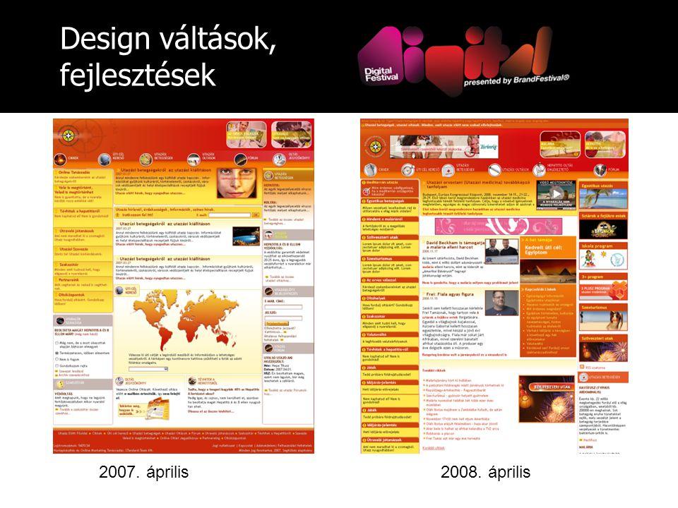 Design váltások, fejlesztések 2007. április2008. április