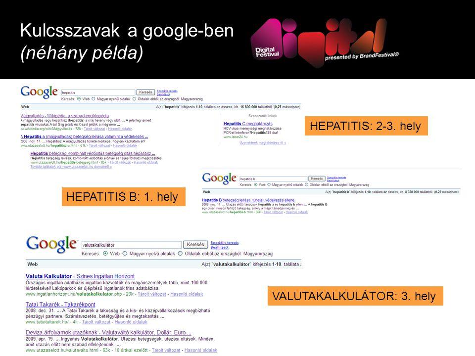 Kulcsszavak a google-ben (néhány példa) HEPATITIS: 2-3.