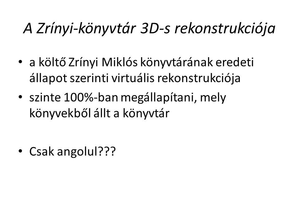 A Zrínyi-könyvtár 3D-s rekonstrukciója a költő Zrínyi Miklós könyvtárának eredeti állapot szerinti virtuális rekonstrukciója szinte 100%-ban megállapítani, mely könyvekből állt a könyvtár Csak angolul