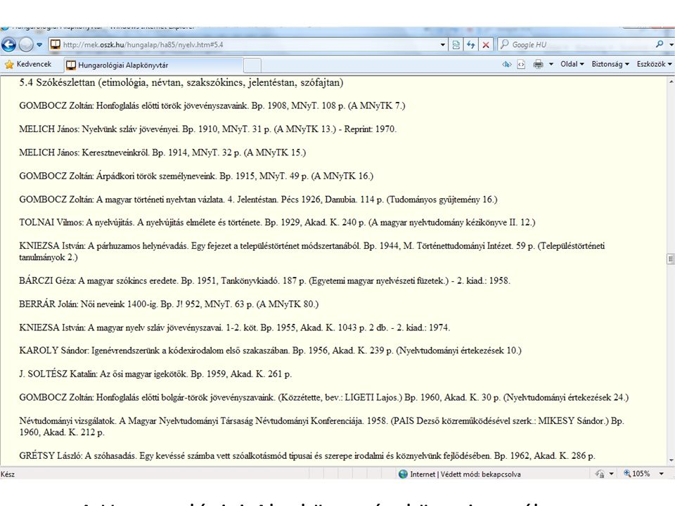 Főoldal: hírek, újdonságok Hungarológiai Alapkönyvtár weboldal ismertetése Tervbe vett, és elkészült digitalizált könyvek – tematikus keresési lehetőség Hungarológiai bibliográfia – Könyvtári Intézet aktualizált adatbázisa – A Hungarológiai Alapkönyvtár könyvjegyzéke