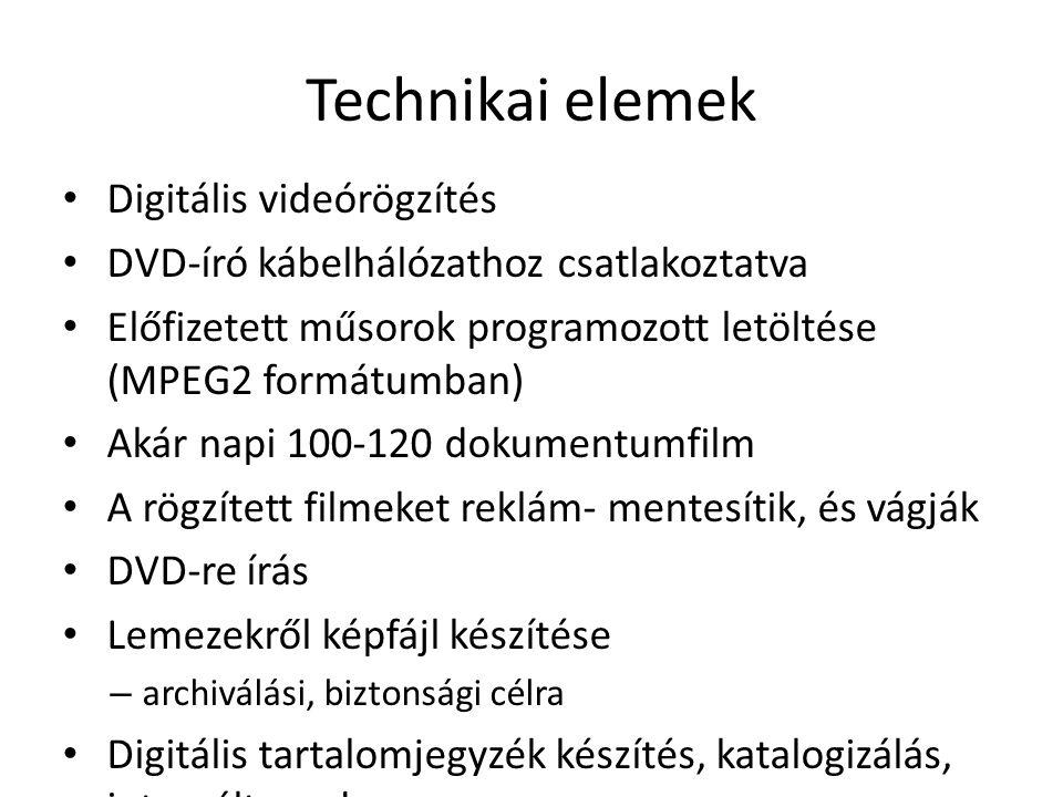 Technikai elemek Digitális videórögzítés DVD-író kábelhálózathoz csatlakoztatva Előfizetett műsorok programozott letöltése (MPEG2 formátumban) Akár napi 100-120 dokumentumfilm A rögzített filmeket reklám- mentesítik, és vágják DVD-re írás Lemezekről képfájl készítése – archiválási, biztonsági célra Digitális tartalomjegyzék készítés, katalogizálás, integrált rendszer