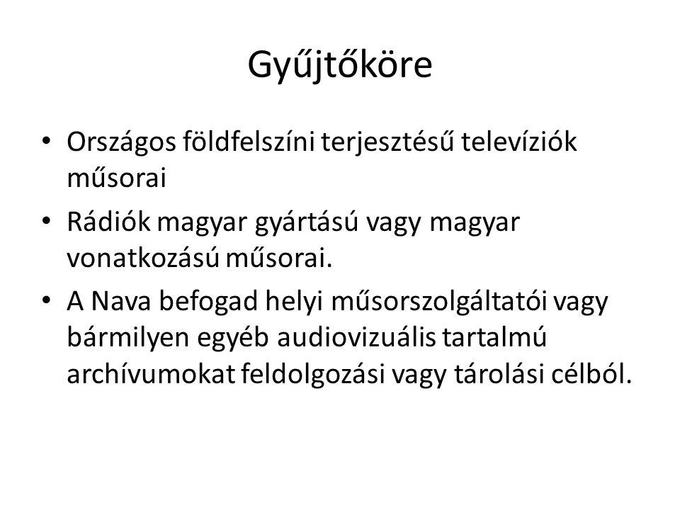 Gyűjtőköre Országos földfelszíni terjesztésű televíziók műsorai Rádiók magyar gyártású vagy magyar vonatkozású műsorai.