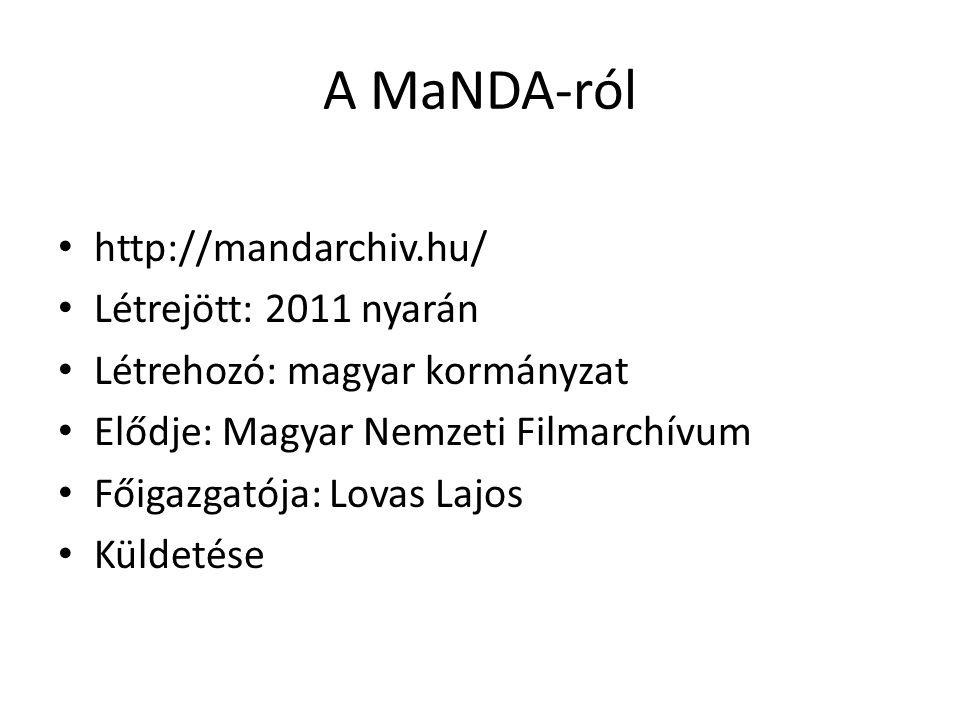 A MaNDA-ról http://mandarchiv.hu/ Létrejött: 2011 nyarán Létrehozó: magyar kormányzat Elődje: Magyar Nemzeti Filmarchívum Főigazgatója: Lovas Lajos Küldetése