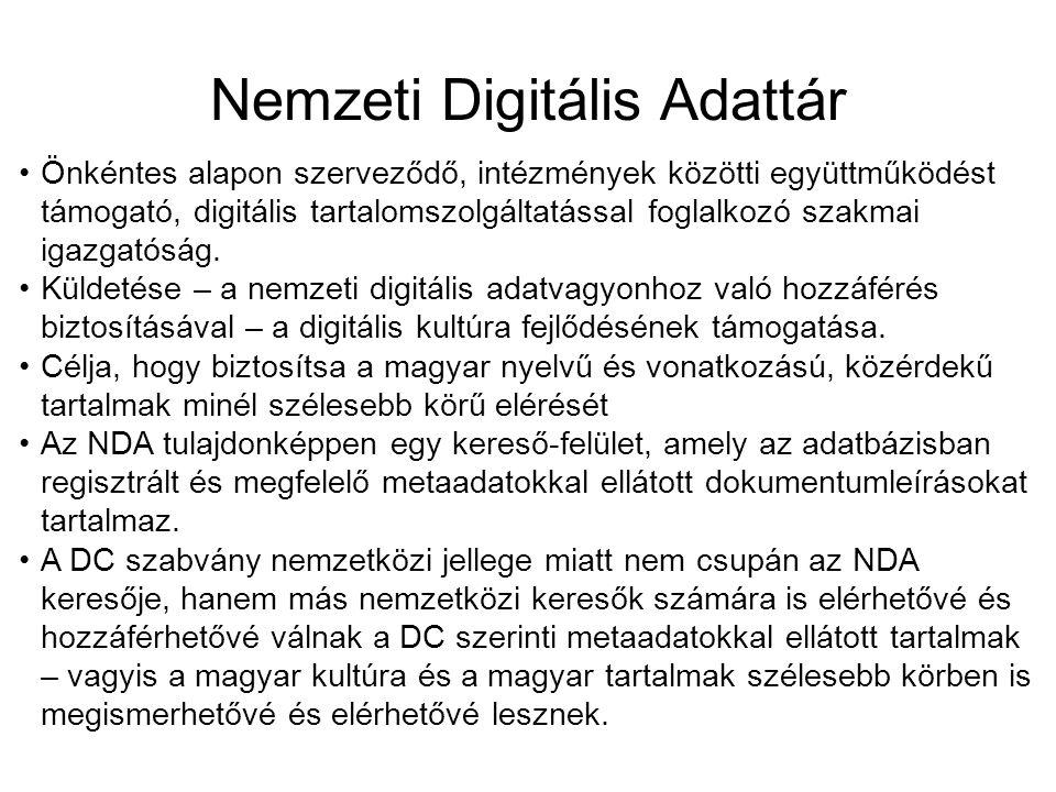 Nemzeti Digitális Adattár Önkéntes alapon szerveződő, intézmények közötti együttműködést támogató, digitális tartalomszolgáltatással foglalkozó szakmai igazgatóság.