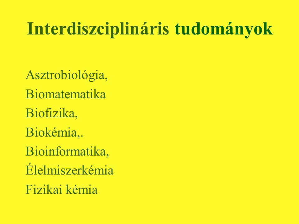 Interdiszciplináris tudományok Asztrobiológia, Biomatematika Biofizika, Biokémia,.