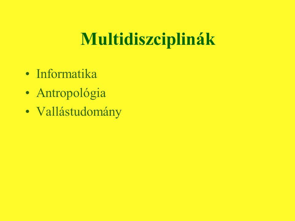 Multidiszciplinák Informatika Antropológia Vallástudomány