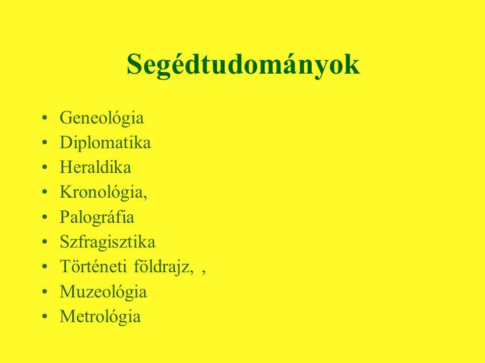 Segédtudományok Geneológia Diplomatika Heraldika Kronológia, Palográfia Szfragisztika Történeti földrajz,, Muzeológia Metrológia