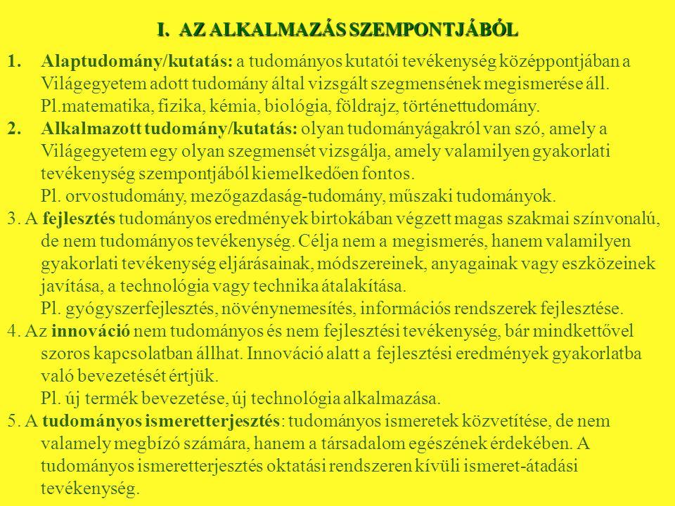 II.A VIZSGÁLT SZEGMENS TARTALMA SZERINT (Tudományágak) 1.